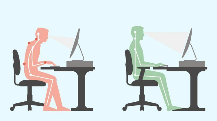 correct sitting posture in office